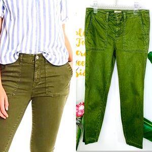 "J. CREW 9"" Toothpick Olive Green Cargo Pants Sz 27"